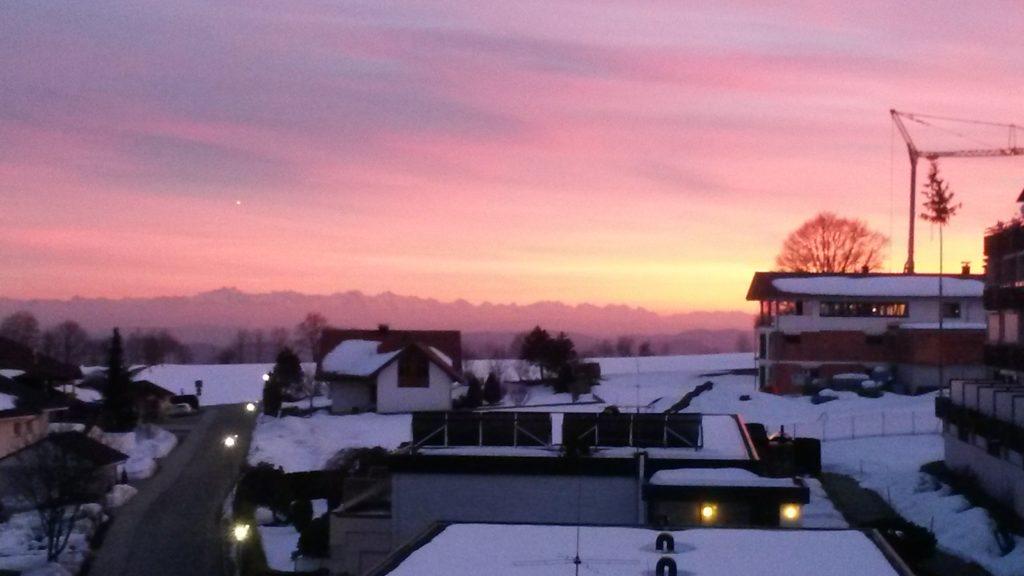 Abendglühen am Schweizer Alpenpanorama