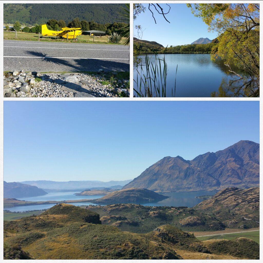 Neuseeland, 14.03.2020: Links: Haast Pass-Makarora Road, WC-Stop; Rechts: Diamond Lake auf dem Weg zum Rocky Hill; Unten: Aussicht vom Rocky Hill, nähe Wanaka