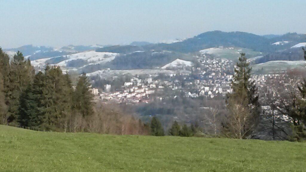 gegen Abend über grüner Wiese mit Blick Richtung St. Gallen, Bruggen - 01.04.2020