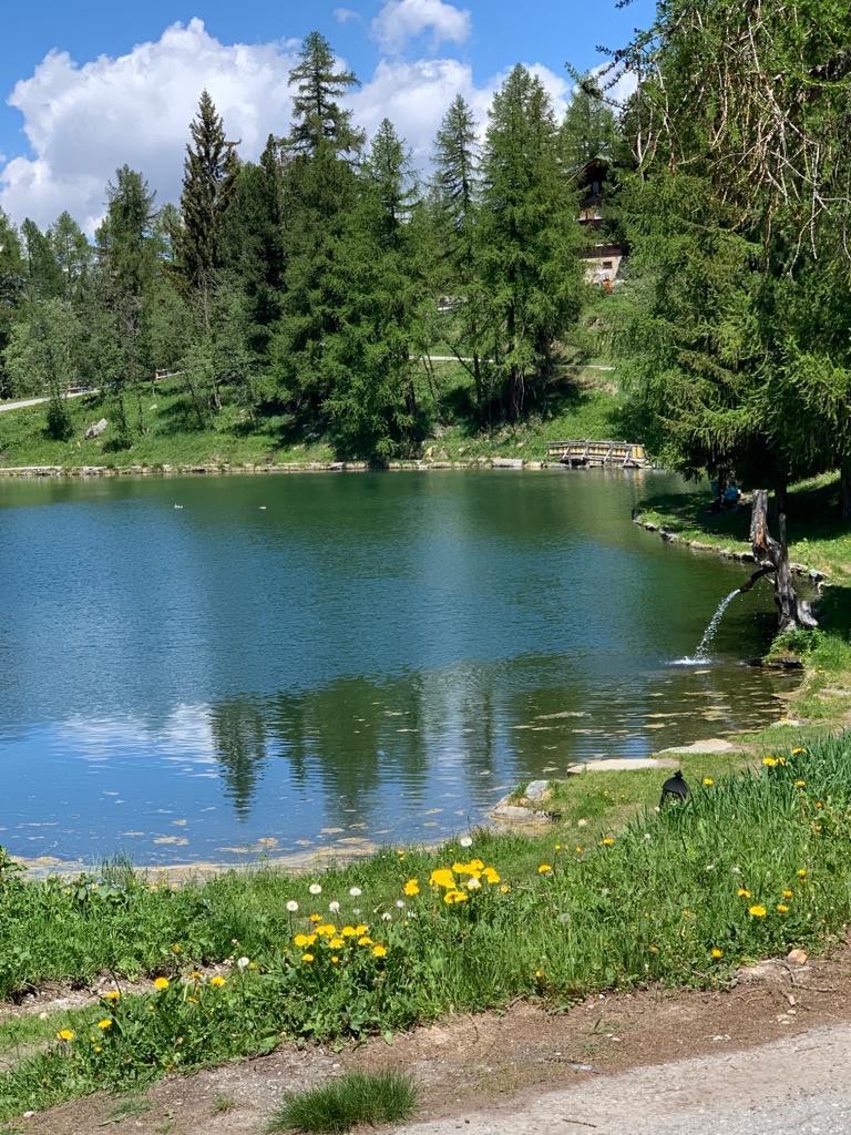 Der idyllische Grächner See befindet sich oberhalb des Dorfes. Els - 21.05.2020