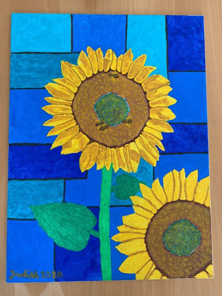 zwei Sonnenblumen - Gouache/Acryl/Tusche, Judith 2020