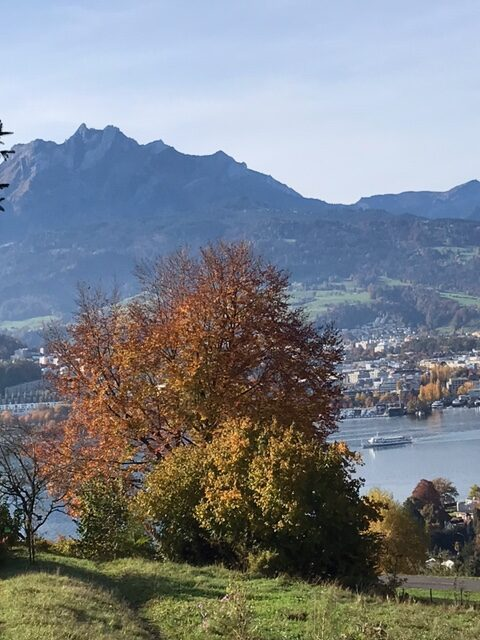 Alpenpanorama-Weg mit Blick über den Vierwaldstättersee Richtung Pilatus