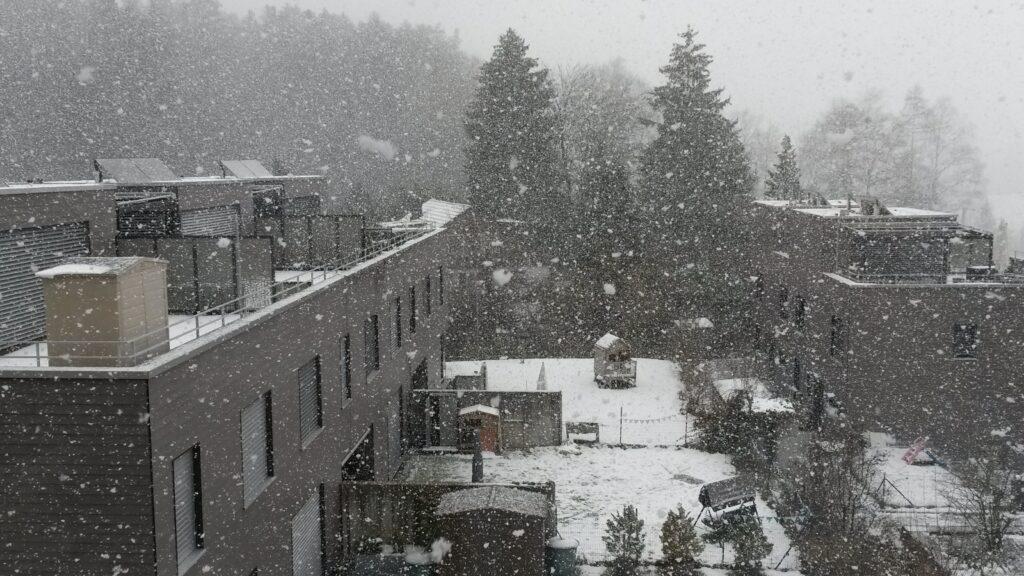 Schneegestöber im Quartier - 30.12.2020