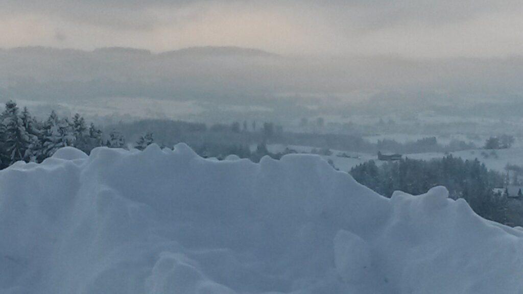 verschleierter Ausblick über die Schneemauer - 16.01.2021