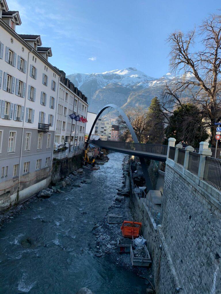 Die neue Brücke in Chur, über den Fluss PLESSUR, verbindet das OBERTOR mit dem WELSCHDÖRFLI - Judith, 18.02.2021
