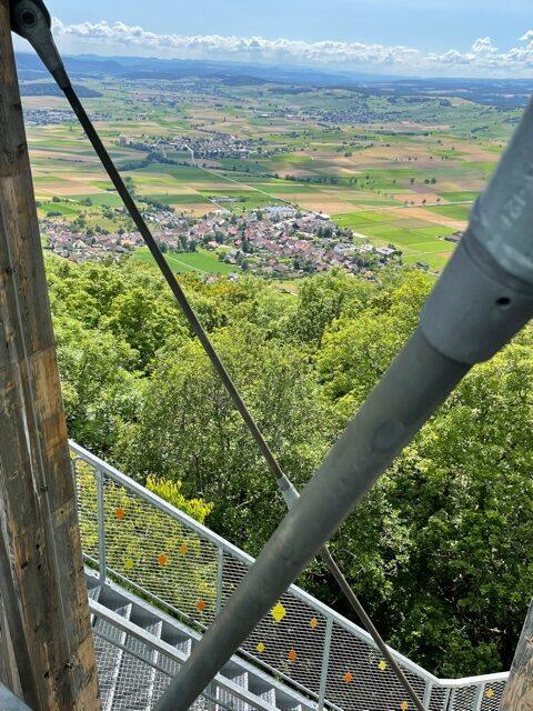 Blick durch das Turmgestänge Richtung Siblingen - 11.07.2021