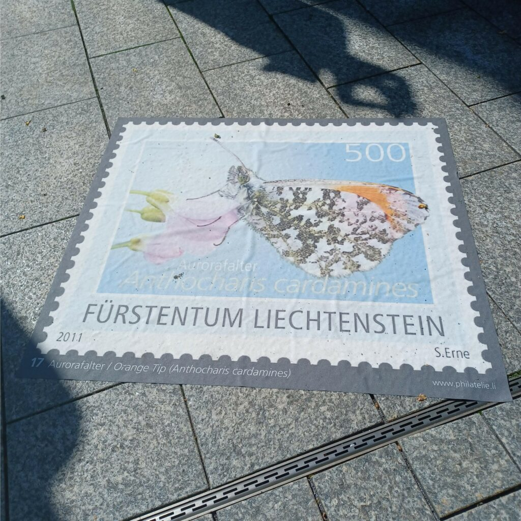 Bodenplatte einer 500er Postmarke Fürstentum Liechtenstein - 09.07.2021