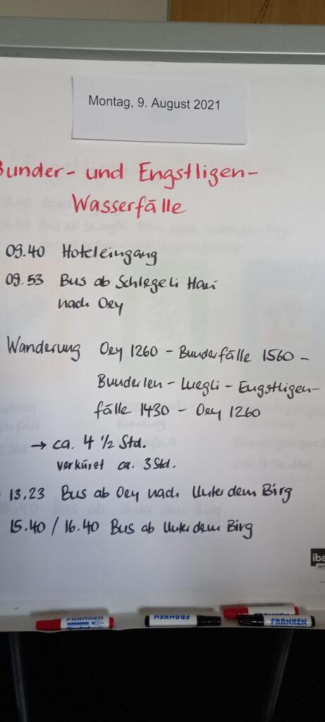 Wanderprogramm für Montag, 9. August 2021 - 08.08.2021