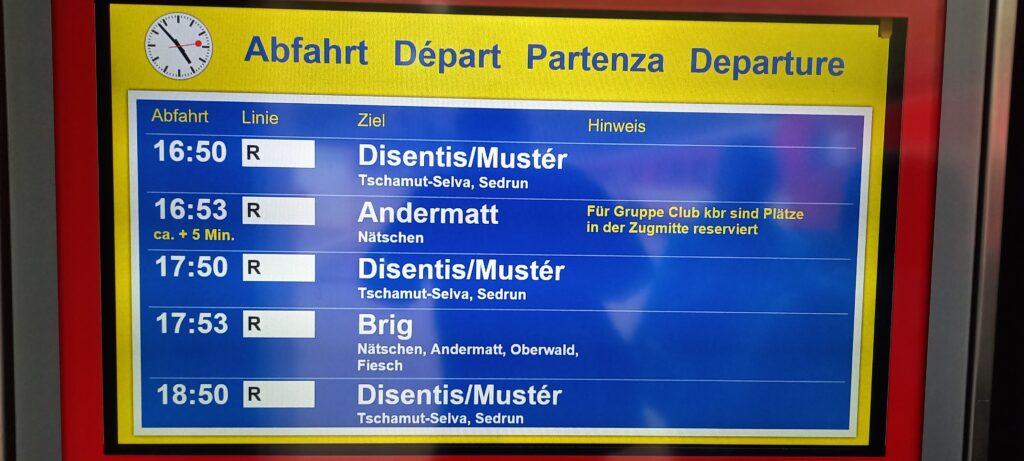 Abfahrtszeiten Oberalppass - 22.08.2021